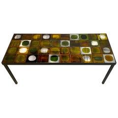 "Roger Capron Iconic Ceramic Coffee Table ""Planètes"", 1960s"