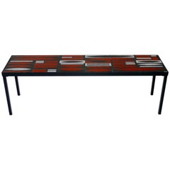 """Roger Capron, Iconic """"Navettes"""" Low Table in Red, France, circa 1960"""