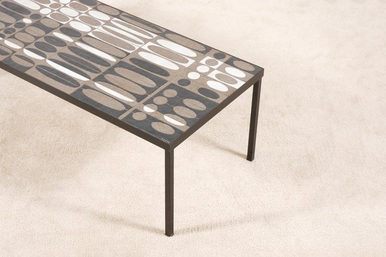 French Roger Capron, Large Coffee Table with Ceramic Tiles, circa 1950 For Sale