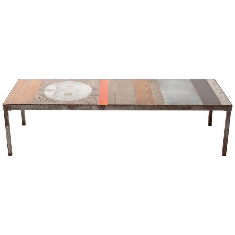"Roger Capron Large ""Table au soleil"" Steel and Ceramic Tiles, Vallauris France For Sale"