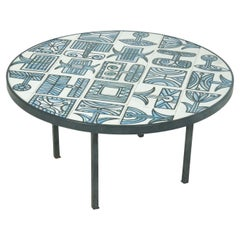 Roger Capron Low Table, in Ceramic, France 1970, Round, Blue Colors, Metal Frame