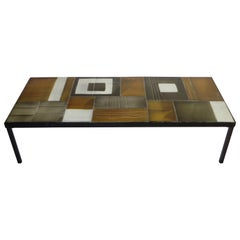 Roger Capron Multi-Color Ceramic Coffee Table in Amber Ochre Gray and White