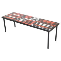 Roger Capron Navette Red, Orange, Black and White French Ceramic Coffee Table