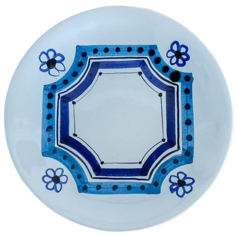 Roger Capron Painted Plate with Flower Motif