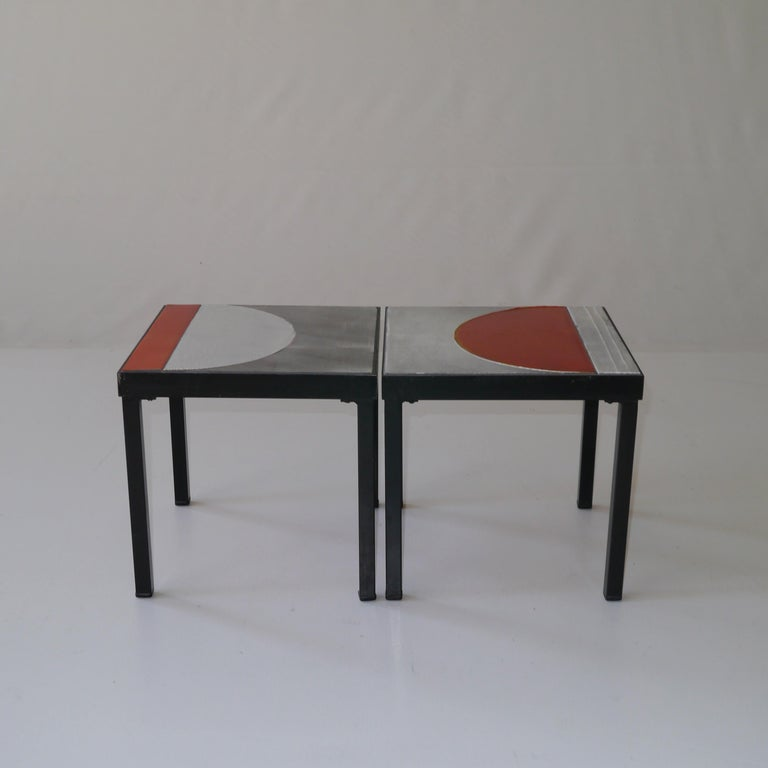 French  Roger Capron, Pair of Lava Glazed Side Tables, France, circa 1965 For Sale