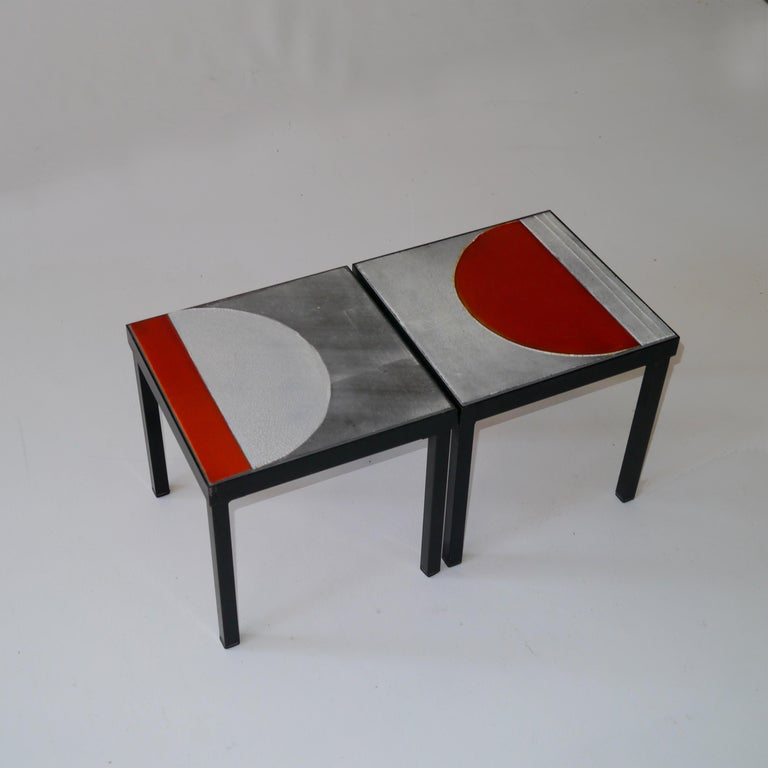 Roger Capron, Pair of Lava Glazed Side Tables, France, circa 1965 In Good Condition For Sale In Saint Ouen, FR
