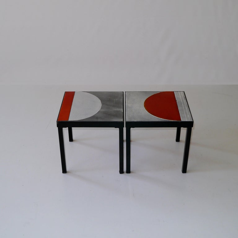 Roger Capron, Pair of Lava Glazed Side Tables, France, circa 1965 For Sale 2