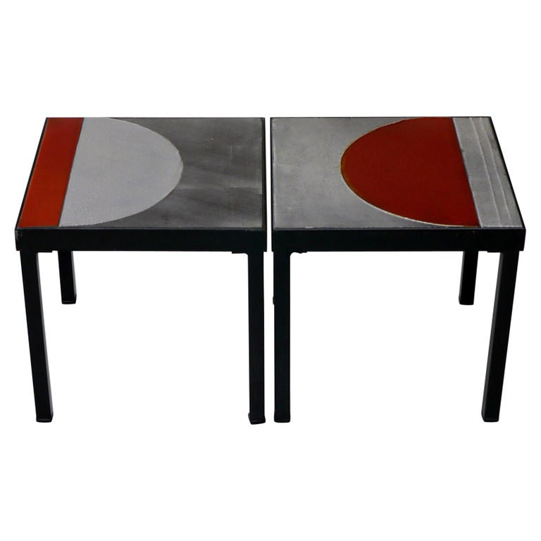 Roger Capron, Pair of Lava Glazed Side Tables, France, circa 1965 For Sale