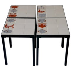 Roger Capron, Set of 4 Low Tables, France, circa 1960