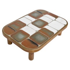 Roger Capron Sho-Gun Low French Ceramic Coffee Table Vallauris