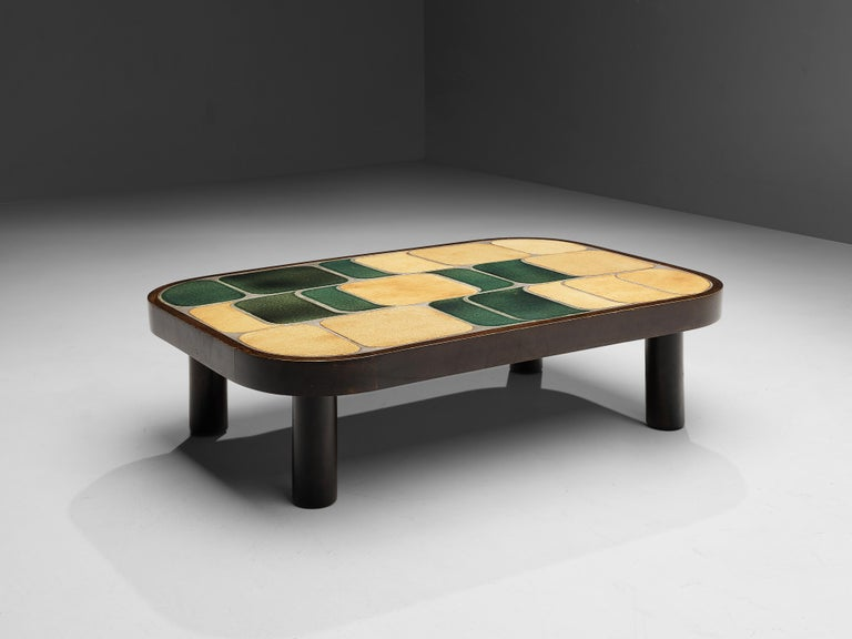 Roger Capron, side table 'Shogun', bicolor ceramic, mahogany, France, 1960s  French coffee table with wonderful composed ceramic tiles by French designer Roger Capron. Both the tiles as well as the frame feature rounded corners. The tiles have