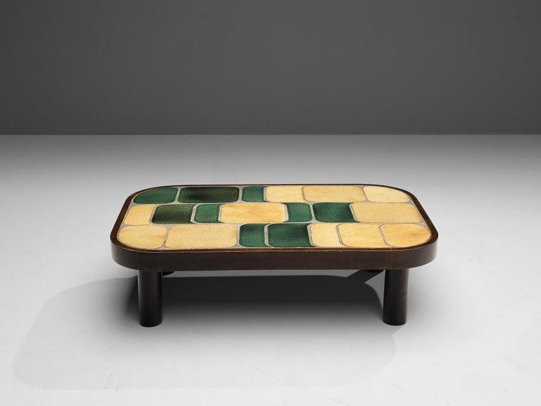 Belgian Roger Capron 'Shogun' Coffee Table in Ceramic and Mahogany