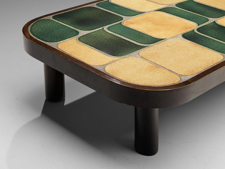 Roger Capron 'Shogun' Coffee Table in Ceramic and Mahogany In Good Condition In Waalwijk, NL