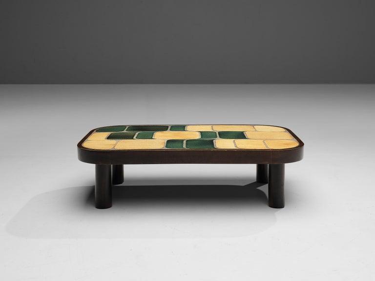 Mid-20th Century Roger Capron 'Shogun' Coffee Table in Ceramic and Mahogany
