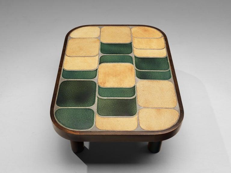 Roger Capron 'Shogun' Coffee Table in Ceramic and Mahogany 1