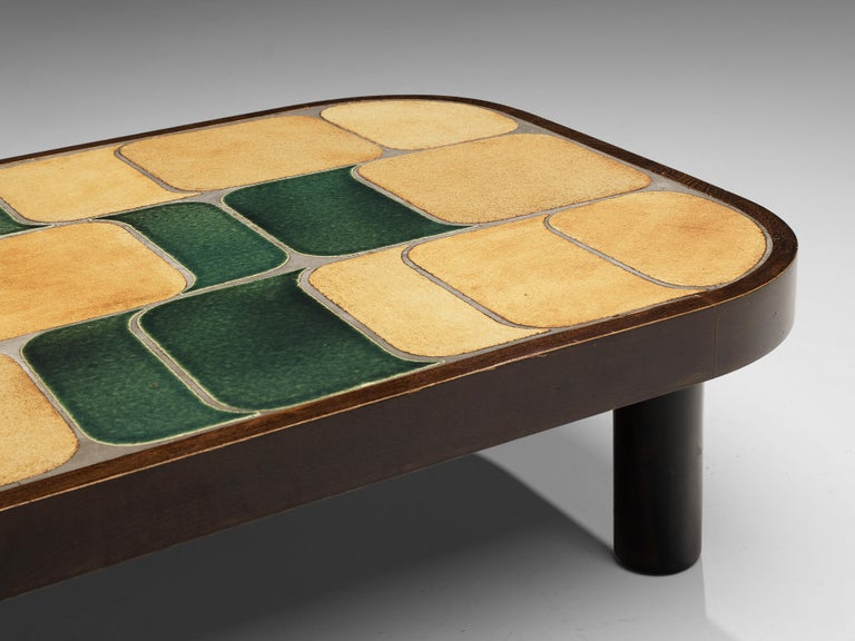 Roger Capron 'Shogun' Coffee Table in Ceramic and Mahogany 2