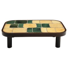 Roger Capron 'Shogun' Coffee Table in Ceramic and Mahogany