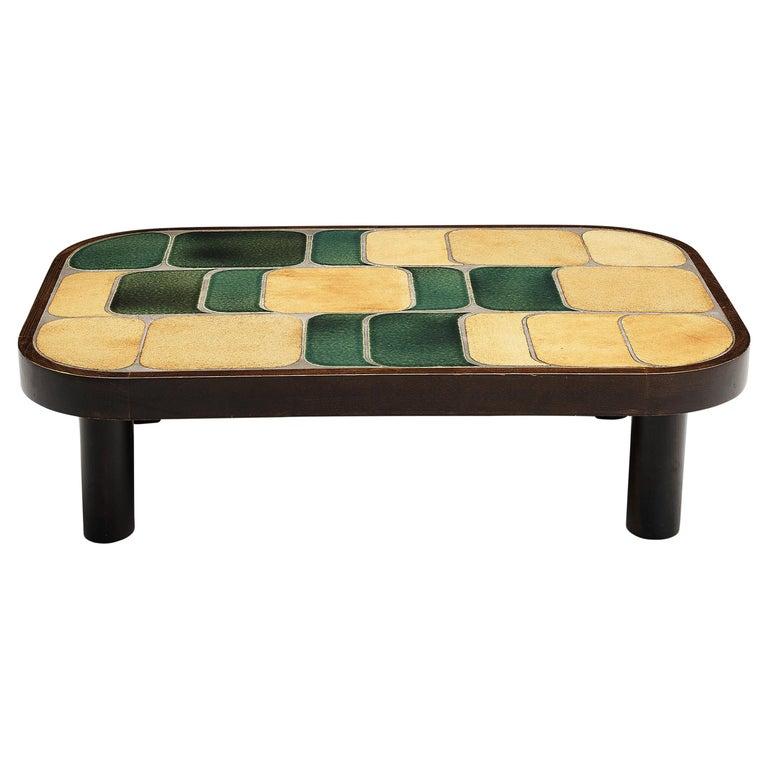 Roger Capron 'Shogun' Coffee Table in Ceramic and Mahogany