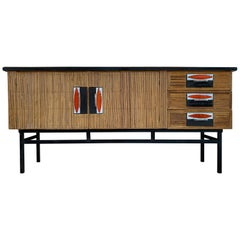 Audoux & Minet with Roger Capron Ceramic Tiles Sideboard in Rattan & metal, 1950