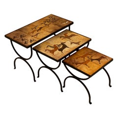 French Nesting Tables with Terracotta Tiles