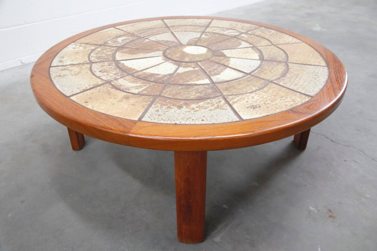 Roger Capron Style Round Teak Coffee Table with 1960s Ceramic Tile, Signed For Sale 6