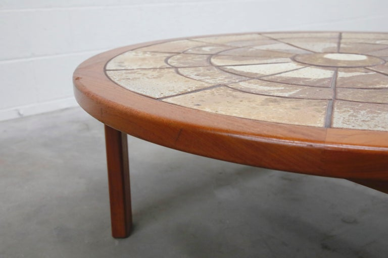 Roger Capron Style Round Teak Coffee Table with 1960s Ceramic Tile, Signed For Sale 7