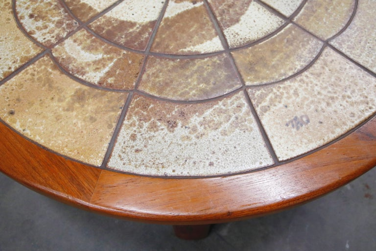Roger Capron Style Round Teak Coffee Table with 1960s Ceramic Tile, Signed For Sale 8