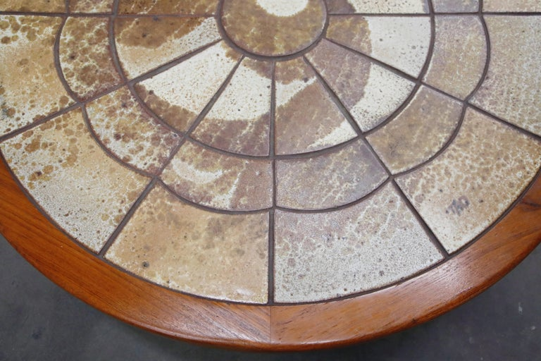 Roger Capron Style Round Teak Coffee Table with 1960s Ceramic Tile, Signed For Sale 10