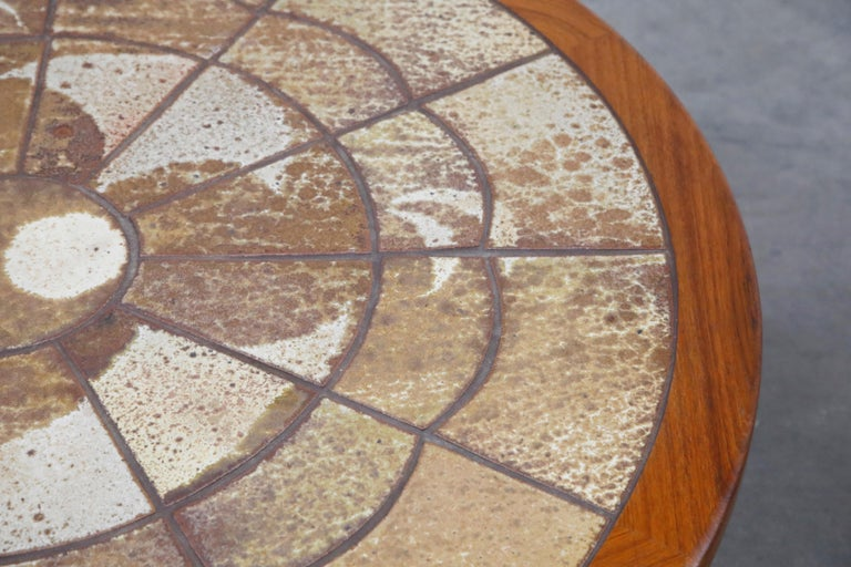 Roger Capron Style Round Teak Coffee Table with 1960s Ceramic Tile, Signed For Sale 13