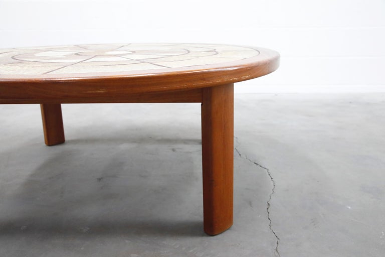 Roger Capron Style Round Teak Coffee Table with 1960s Ceramic Tile, Signed For Sale 14