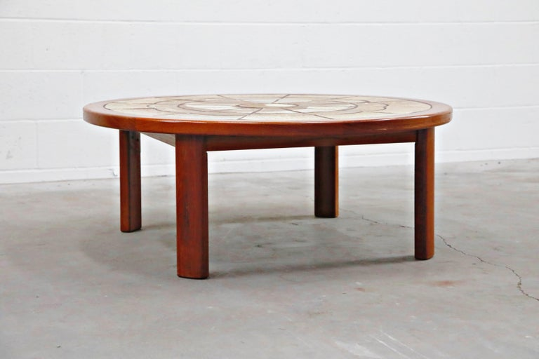 Scandinavian Modern Roger Capron Style Round Teak Coffee Table with 1960s Ceramic Tile, Signed For Sale