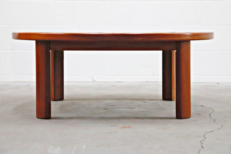 Scandinavian Roger Capron Style Round Teak Coffee Table with 1960s Ceramic Tile, Signed For Sale
