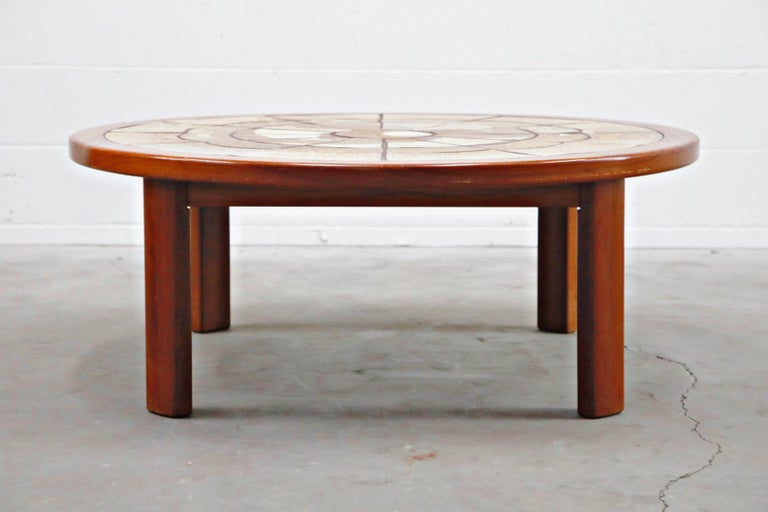 Roger Capron Style Round Teak Coffee Table with 1960s Ceramic Tile, Signed In Good Condition For Sale In Los Angeles, CA