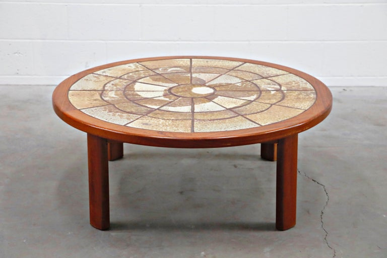 Mid-20th Century Roger Capron Style Round Teak Coffee Table with 1960s Ceramic Tile, Signed For Sale