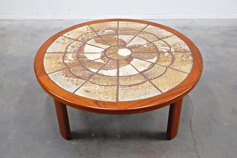 Roger Capron Style Round Teak Coffee Table with 1960s Ceramic Tile, Signed For Sale 1