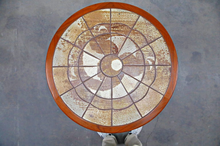 Roger Capron Style Round Teak Coffee Table with 1960s Ceramic Tile, Signed For Sale 3