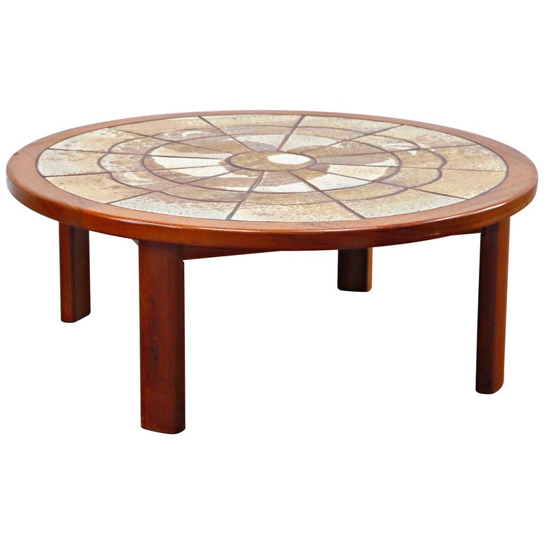 Roger Capron Style Round Teak Coffee Table with 1960s Ceramic Tile, Signed For Sale