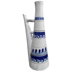 Roger Capron, Vallauris, Ceramic Lamp Base Bottle, Blue Pattern, circa 1950