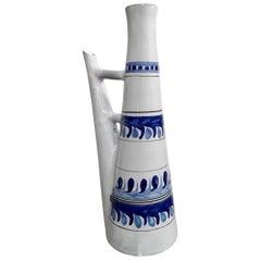 Roger Capron, Vallauris, Ceramic Lamp Base Bottle, Blue Pattern, circa 1950