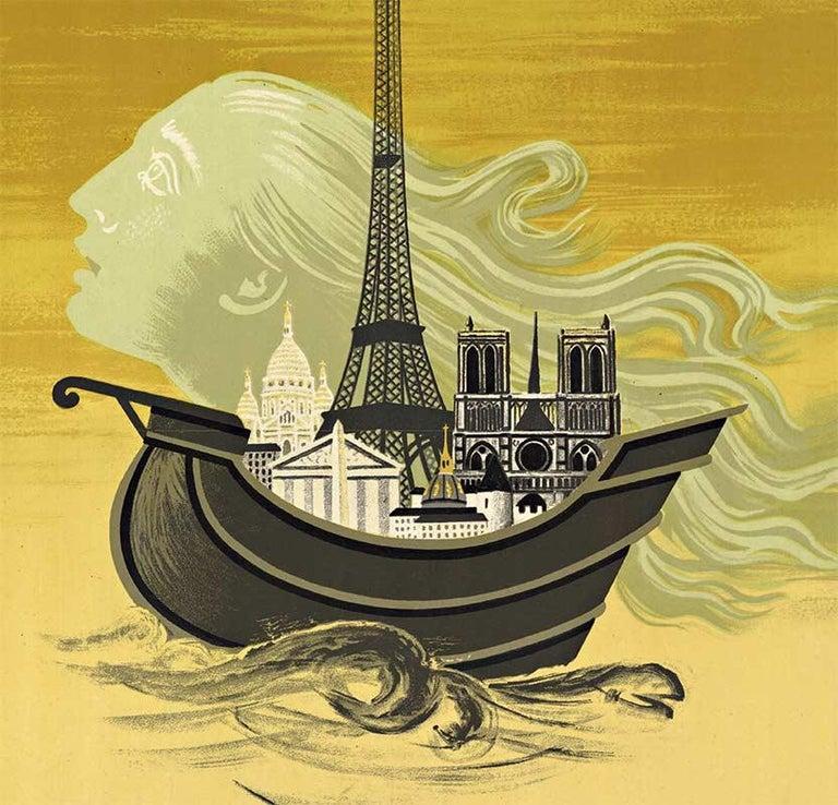 Paris 2000 Anniversary 1951, original vintage Poster - Expressionist Art by Roger Chapelain Midy