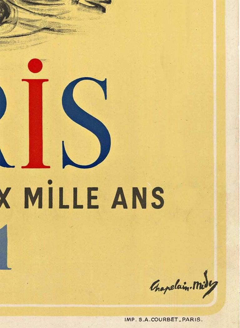 Original 1951 vintage travel poster:  Paris Celebre Ses Deux Mille Ans (Paris Célèbre ses 2000 ans - 1951)   - Paris Celebrates Two Thousand Years in 1951.   Artist:  Roger Chapelain-Midy.   Year:  1951.  Printer: Société Anonyme Courbet Paris.