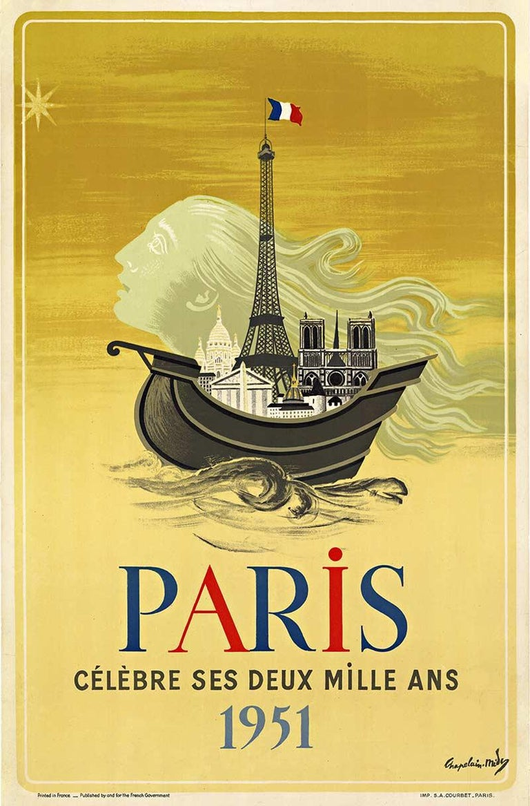 Paris 2000 Anniversary 1951, original vintage Poster - Art by Roger Chapelain Midy