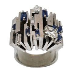 Roger Claude Canadian Deco Designer Diamond and Sapphire Ring