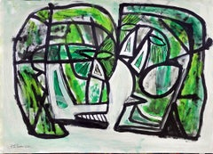 Coterie Heads, Contemporary Mixed Media on paper