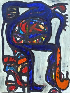Jazzman, Contemporary Gouache on Paper