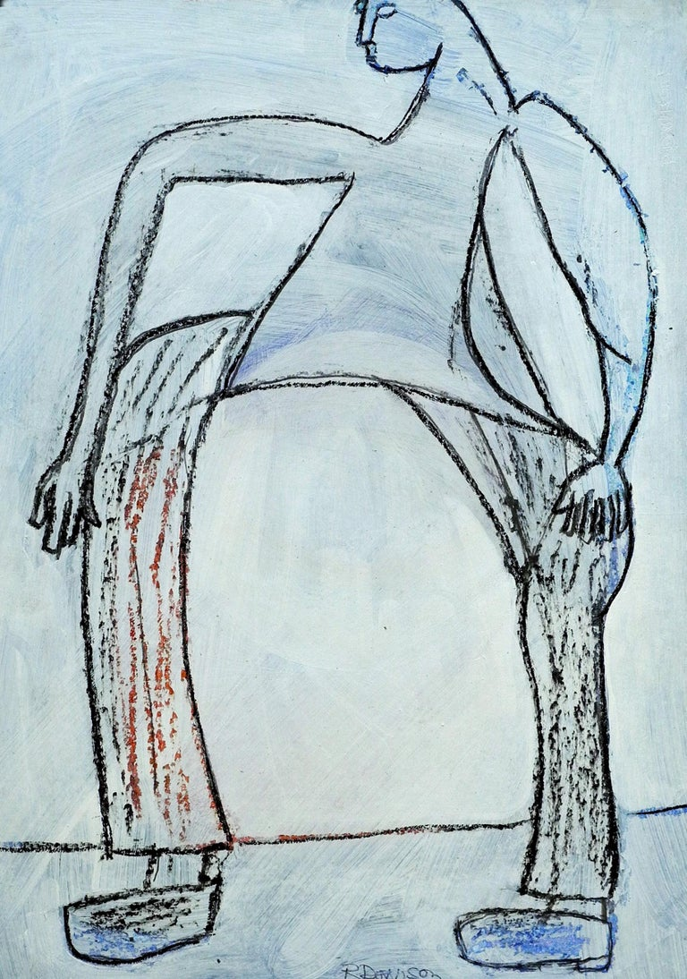 Roger Davison Figurative Painting - Man Walking. Contemporary Outsider Gouache and Pencil