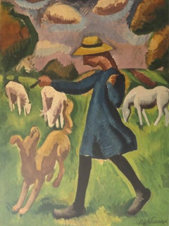 Countryside : Girl Playing with a Dog - Lithograph, Mourlot