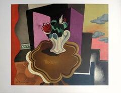 Cubist Interior with Rose Bouquet - Lithograph, Mourlot