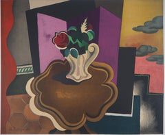 Cubist Interior with Rose Bouquet - Lithograph, Mourlot