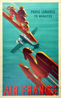 Original Vintage Poster Air France Paris London 75mins Lion Rooster Speed Travel
